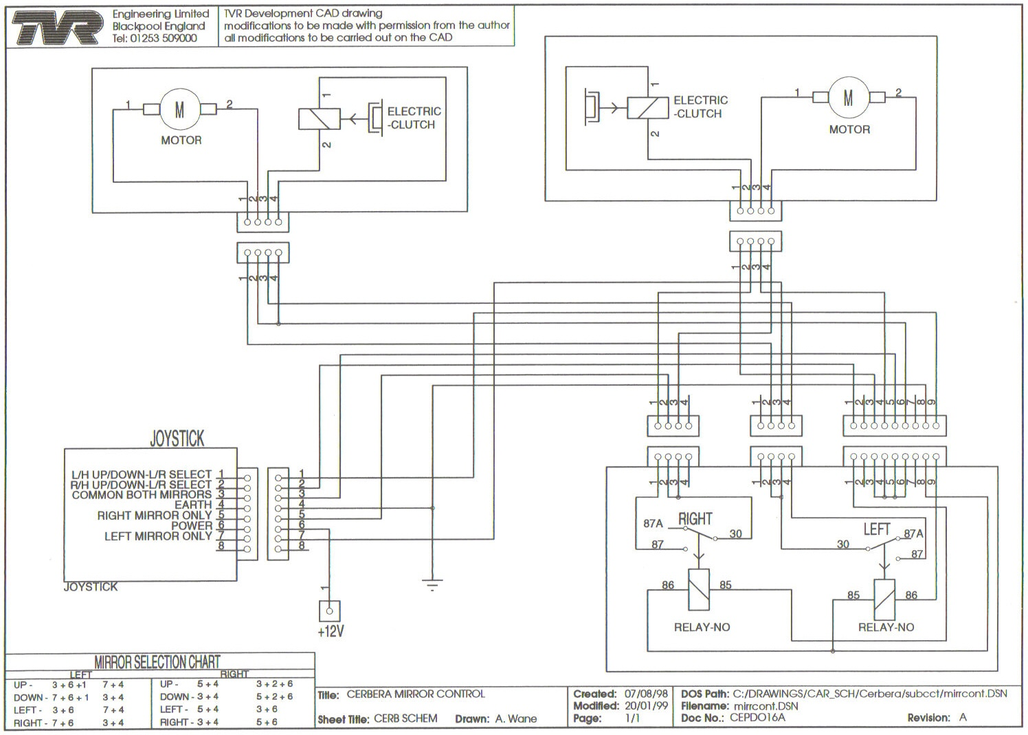 Mirror Control Switch Wiring Diagram Reinvent Your Of Diagrams Rh Tvr Cerbera Co Uk 2 Way 12v